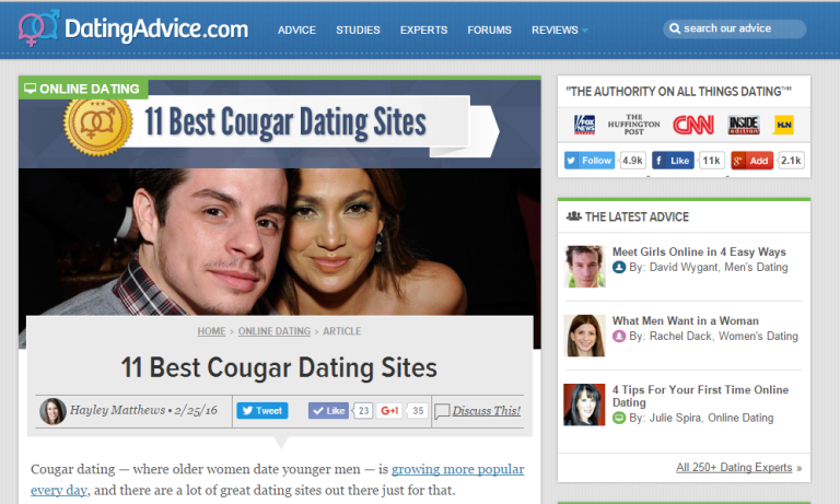 Popular cougar dating sites